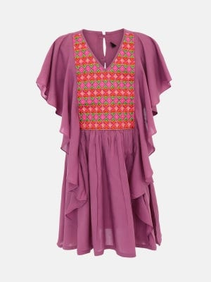 Dusty Pink Embroidered Linen Top