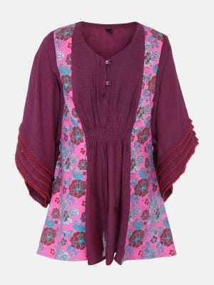Purple Printed Mixed Cotton Top