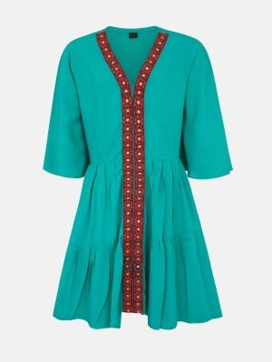 Turquoise Embroidered Linen Top