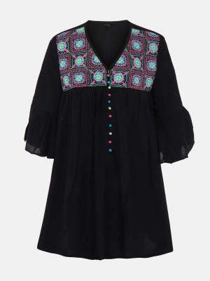 Black Embroidered Linen Top