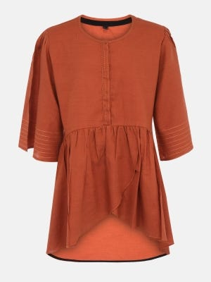 Brown Embroidered Cotton Top