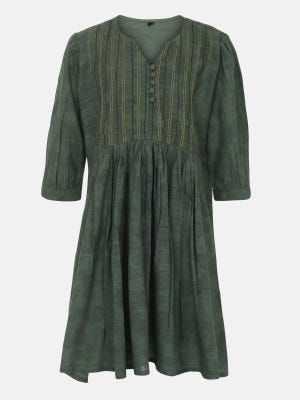 Sage Green Printed and Embroidered Mixed Cotton Top