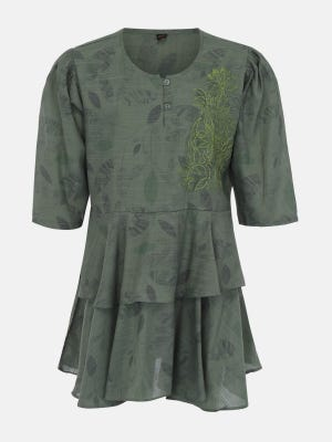 Sage Green Embroidered Mixed Cotton Top