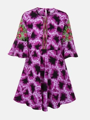 Purple Printed and Embroidered Linen Top