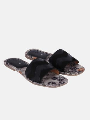 Grey Printed Leather Sandals