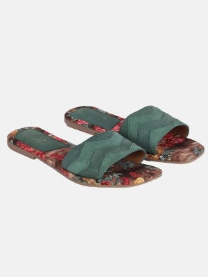 Green Printed Leather Sandals