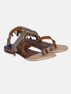 Brown Embroidered Faux Leather Sandals