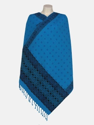 Blue Printed Hand Loomed Cotton Shawl