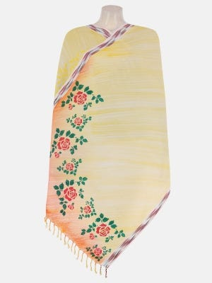 Yellow Brush Painted and Printed Cotton Shawl