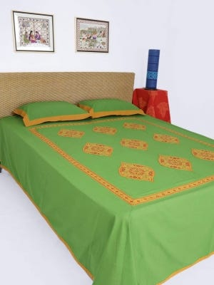 Green Embroidered Cotton Bed Cover