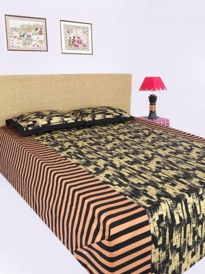 Black Printed Cotton Bed Cover Set