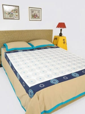 White Printed and Embroidered Cotton Bed Cover Set