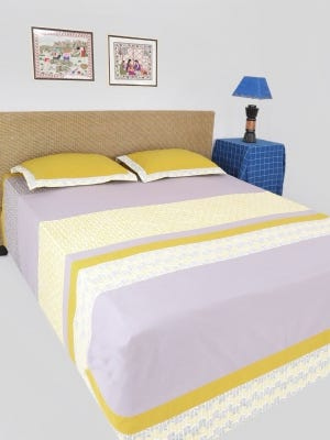 Grey Printed Cotton Bed Cover Set