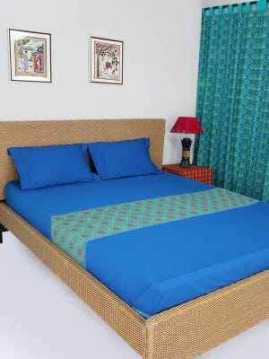 Blue Embroidered Cotton Bed Cover Set