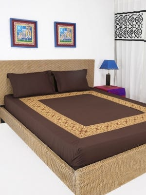 Deep Brown Embroidered Cotton Bed Cover Set