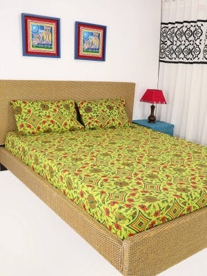 Lemon Yellow Printed Cotton Bed Cover Set