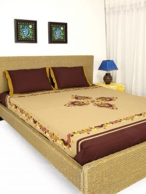 Beige Appliqued and Embroidered Cotton Bed Cover Set