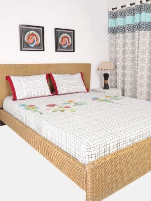 White Embroidered Cotton Bed Cover