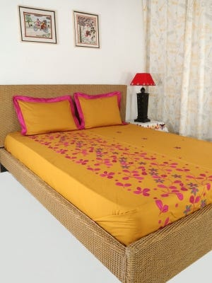 Mustard Appliqued and Embroidered Cotton Bed Cover Set