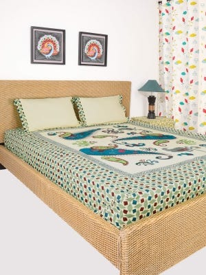 Pastel Yellow Printed and Embroidered Cotton Bed Cover Set