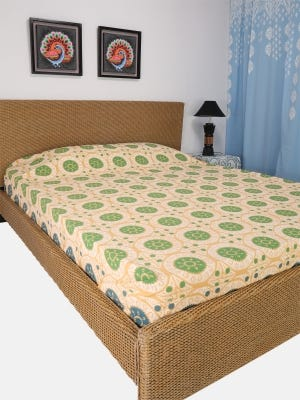Pastel Yellow Printed Cotton Bed Cover