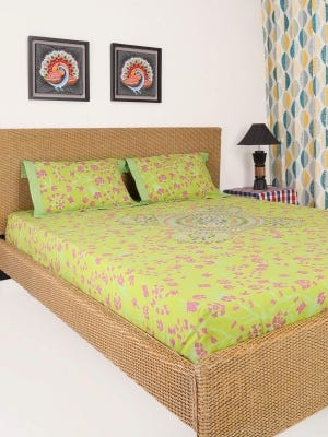 Lime Green Printed and Embroidered Cotton Bed Cover Set