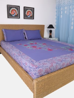 Light Purple Printed and Embroidered Cotton Bed Cover Set