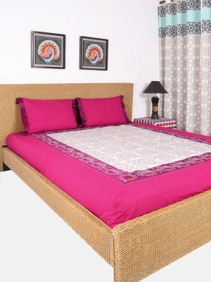 Fuchsia Embroidered Cotton Bed Cover Set