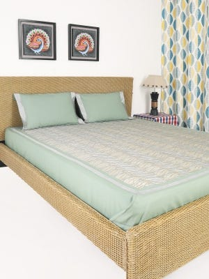 Pistachio Embroidered Cotton Bed Cover Set