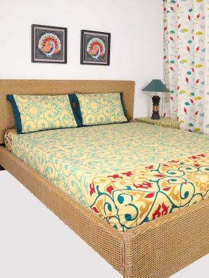 Pastel Yellow Printed Cotton Bed Cover Set