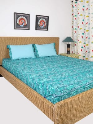 Pastel Blue Printed Cotton Bed Cover Set