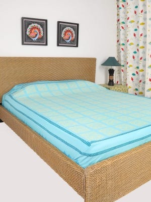 Sky blue Printed Cotton Bed Cover