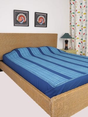 Blue Printed Cotton Bed Cover