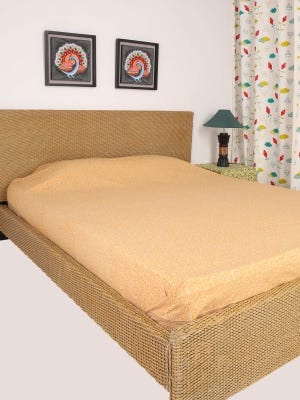 Light Brown Printed Cotton Bed Cover