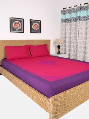 Maroon Embroidered Cotton Bed Cover Set