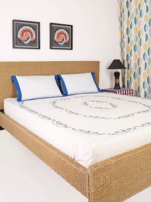 White Embroidered Cotton Bed Cover Set