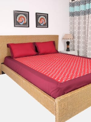 Red Embroidered Cotton Bed Cover Set