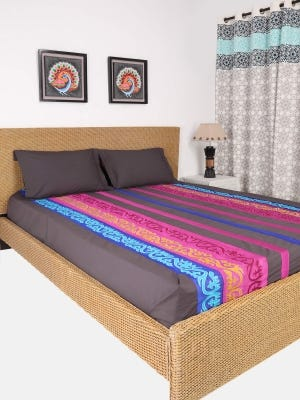 Charcoal Grey Embroidered Cotton Bed Cover