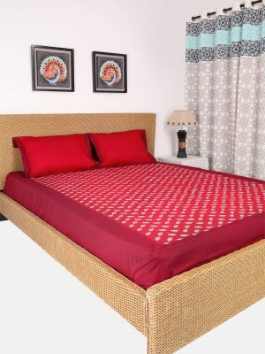 Red Embroidered Cotton Bed Cover