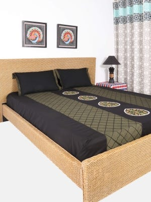 Black Embroidered Cotton Bed Cover Set
