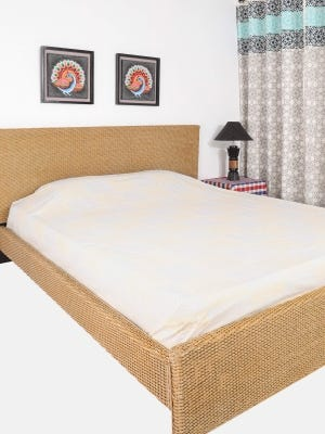 Off White Printed Cotton Bed Cover