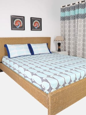 White Printed Cotton Bed Cover