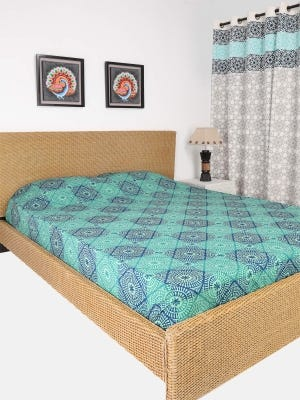 Mint Green Printed Cotton Bed Cover