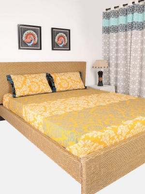 Yellow Printed Cotton Bed Cover