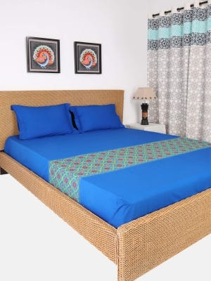 Deep Blue Embroidered Cotton Bed Cover