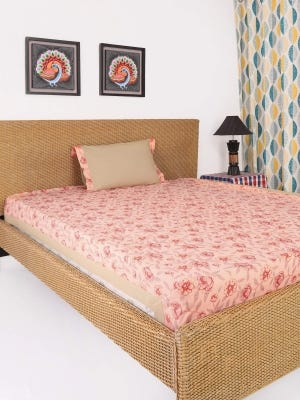 Peach Printed Cotton Bed Cover Set