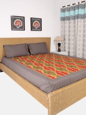 Brown Embroidered Cotton Bed Cover