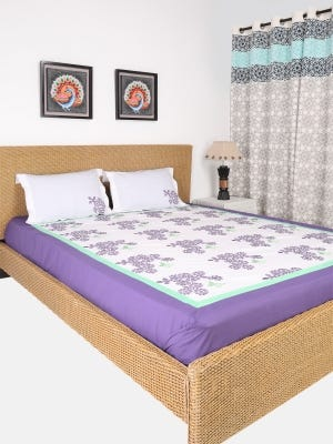 Light Purple Printed Cotton Bed Cover Set