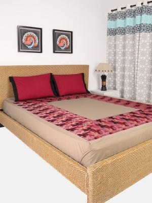 Khaki Embroidered Cotton Bed Cover Set
