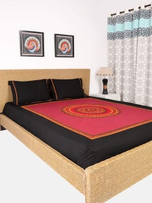 Maroon Embroidered Cotton Bed Cover